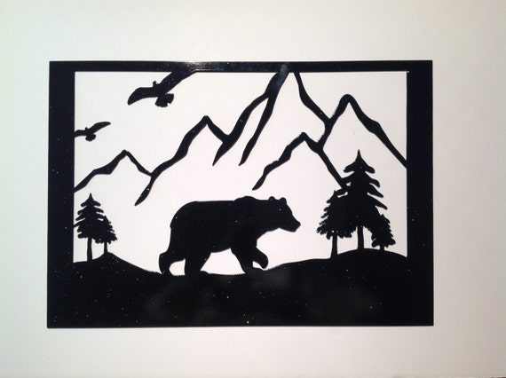 bear picture metal wall art,  unique gift, bear metal art, outdoorsy gift, gift for him, nature lover, nature inspired, man cave