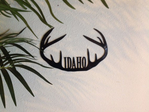 antlers metal wall art, customize with your name, wall decor for man cave, hunters wall art, black powder coated