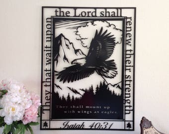 Isaiah 40:31, eagle, they that wait, eagle metal wall art, wall decor, wall art, wall hanging, unique, Scripture sign, Christian wall art