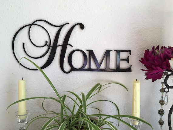 metal art word HOME sign to hang with family photos, gift for wedding, gift for her, HOME