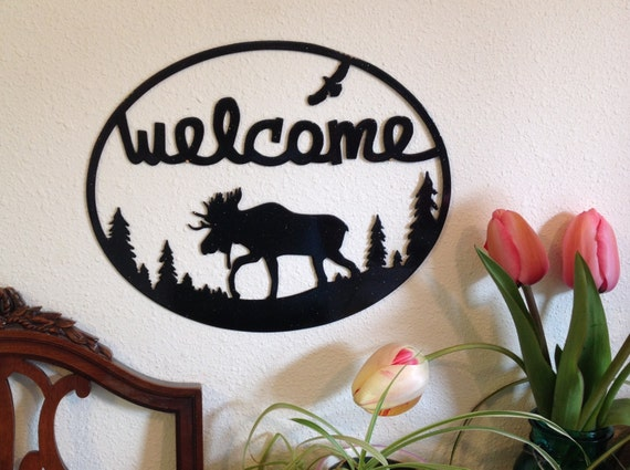 moose metal art welcome sign, moose cabin decor, front door sign, new homeowner gift, nature lover, home decor, country home decor