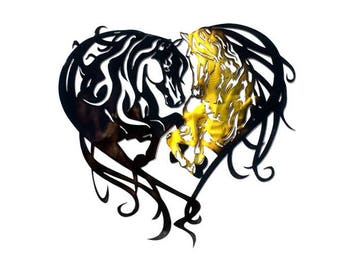 "Heart Horses 18"" Metal Art"