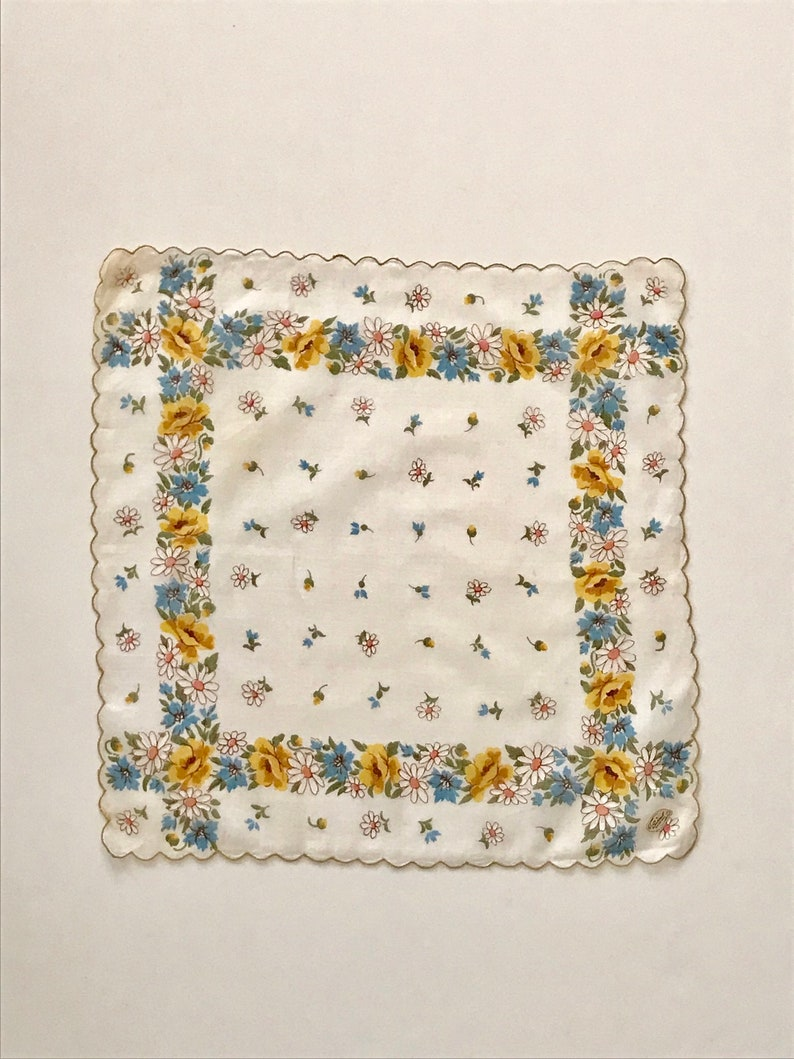 Vintage yellow new old stock cotton lawn handkerchief