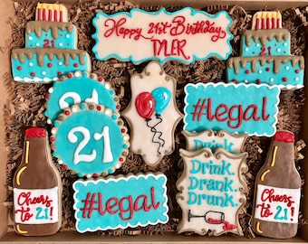 21st Birthday Cookie Gift Box