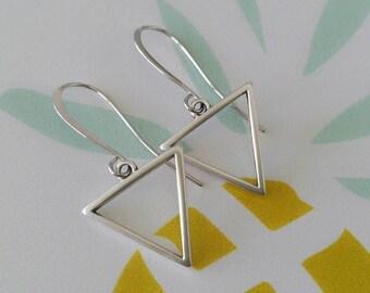 Silver triangle earrings, Dangle triangle earrings, Hollow triangle earrings, Geometric earrings, Silver dangle earrings, Rock style earring