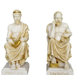 Fathers of Western Philosophy Socrates Teacher and Plato Student sculptures