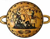 Dionysus and the Maenads - Black figure Kylix - God of wine and pleasure