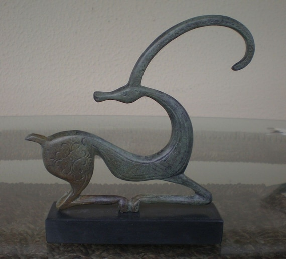 Bronze Item Graceful Ibex on Marble Base Hand Made in Greece Ancient Art