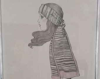 Vintage A. Gruerio Lithograph, Woman In Scarf, Art Deco