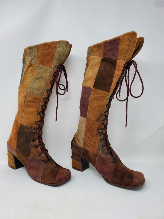 Amazing 1960's Suede Patchwork Boots, Hippie, Boho