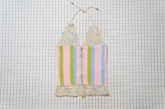 70's Pastel Crochet Halter Top, Ice Cream Stripe H