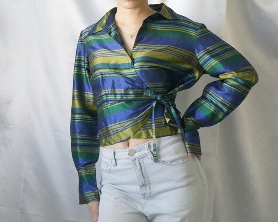 90's 100% Silk Wrap Shirt, Green Stripe Sheen Wrap
