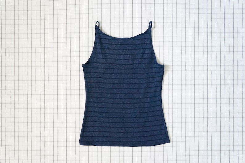 90/'s High Neck Top Vapor Wave Stripe Tank Top Navy Blue Thin Strap Halter Top Soft Grunge Clueless Aesthetic M