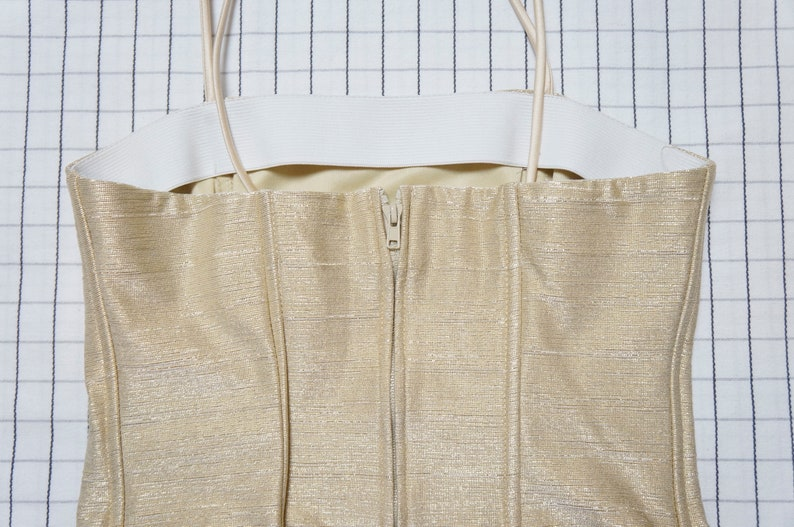 Clueless gold metallic corset with opal beads trim Soft Grunge S Goddess 90/'s Crop Top Tumblr Aesthetic rave