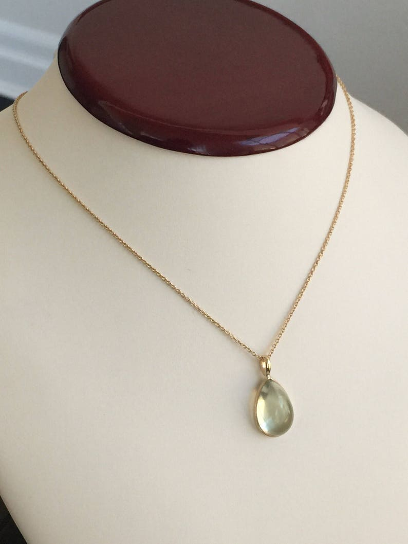 drop shape pear shape 14k solid gold and genuine green amethyst drop pendant cabochon