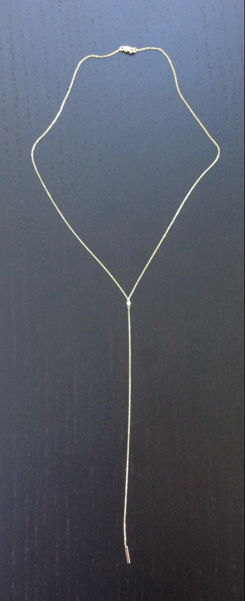 8d714f0452edd 14k solid yellow gold and white diamond, dangling bar necklace, 18