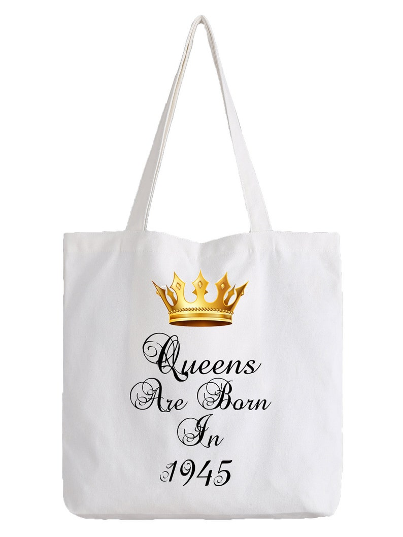Queens Are Born In 1945 Seventy Three 73rd 73 Birthday Tote Bag Shopper Astrology Royalty Princess Queen Cool Gift Idea Ladies Womens