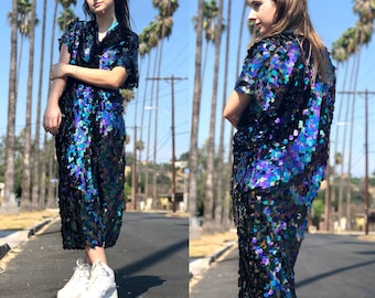 2d4445d5c8c Sequin Kimono | Iridescent Purple Kimono | Rave Kimono Dress | Burning Man  | Plus Size Kimono