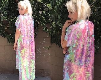 Unicorn Iridescent Sequin Kimono | Long Sleeves | Plus Size Kimono | Rave Kimono | EDC Burning Man