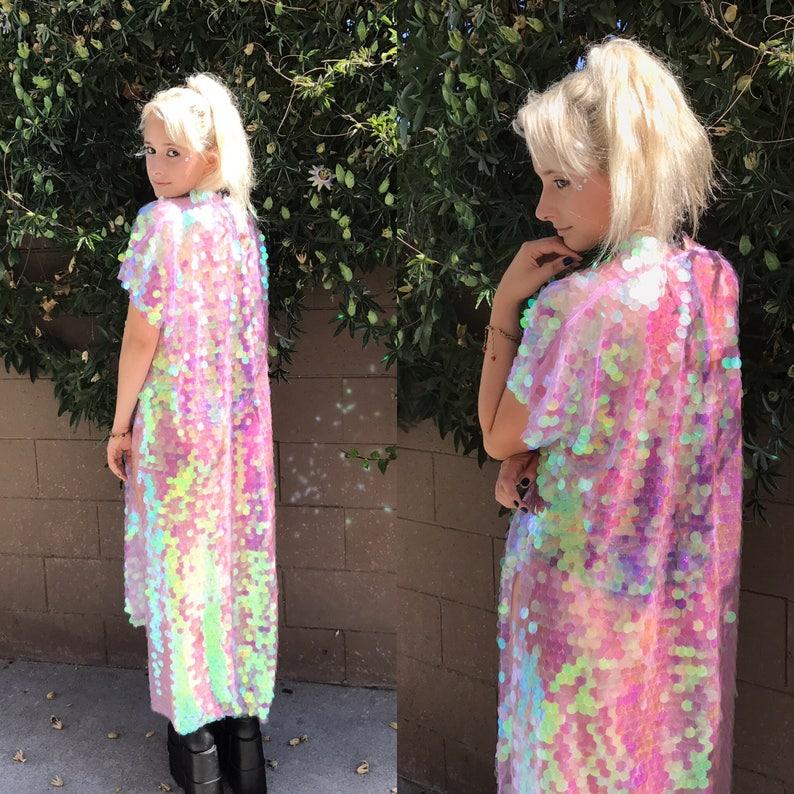 19403d702c5 Unicorn Iridescent Sequin Kimono Long Sleeves Plus Size | Etsy