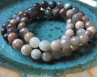 Sun Dazed | Chocolate (Black) Sunstone + Sunstone Ombré | Spiritual Junkies | Yoga + Meditation | Stackable Mala Bracelet