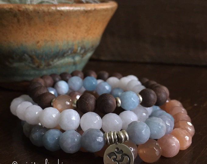 Sun, Moon, Earth + Sea | Agarwood, Aquamarine, Sunstone, Moonstone + Thai Silver Om | Spiritual Junkies | Stack of 4 Yoga Mala Bracelets