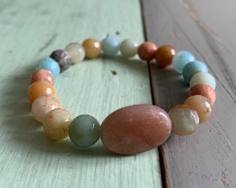 Radiance Bracelet | Earthy Amazonite, Amazonite, + Sunstone | Solar Plexus | 8 mm | Spiritual Junkies | Yoga