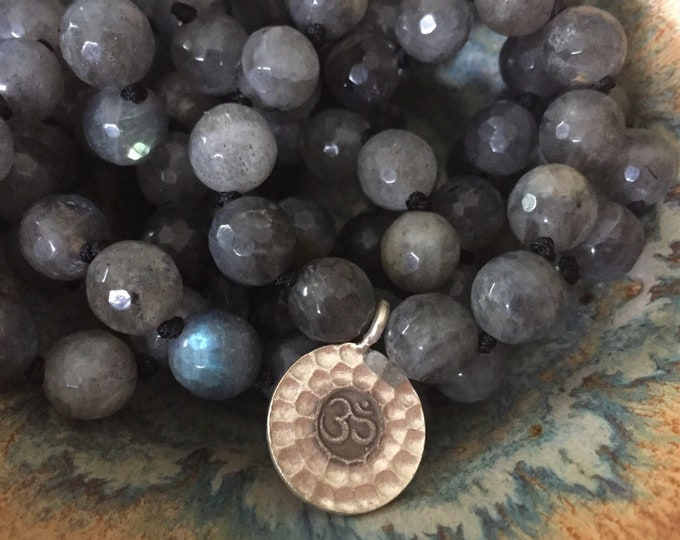 Made to Order | Labradorite + Thai (Sterling) Silver Om Mala | 108 Bead | Handknotted | Spiritual Junkies | Yoga + Meditation