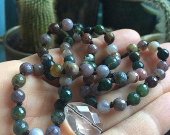 Indian Agate + Quartz Crystal Mini Mala   6 mm   Spiritual Junkies   108 Bead Handknotted   Yoga + Meditation