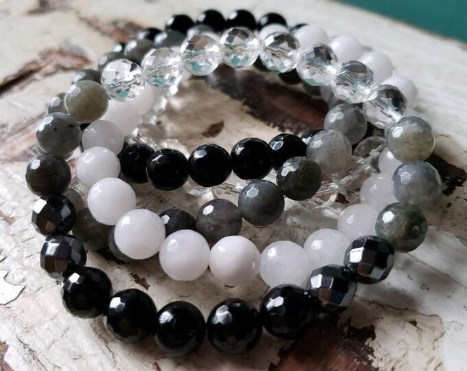 New Moon Manifesting ~ Stack of 5 | Onyx, Tourmaline, Hematite, Labradorite, Moonstone + Quartz | Spiritual Junkies | Yoga + Mala Bracelets