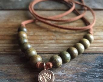 Vegan Leather, Wooden Beads + Thai Silver Lotus | Adjustable Length Choker Necklace | Reiki Infused | Spiritual Junkies | Yoga + Meditation