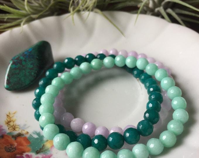 Mini Mermaid Stackers | Dark Teal, Aqua + Lilac Candy Jade | 6 mm | Spiritual Junkies | Yoga + Meditation | 3 Mala Bracelets | Dyed Jade