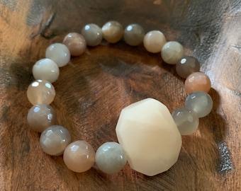 Chunky Peachy Grey Moonstone + Peach Aventurine Bracelet | 10 mm | Spiritual Junkies | Yoga + Meditation | Mala Bracelet