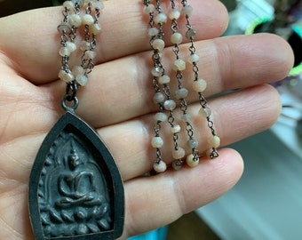Oxidized Rosary Chain, Peach Moonstone + Thai Buddha Necklace | 18 inches | Sterling Toggle | Spiritual Junkies