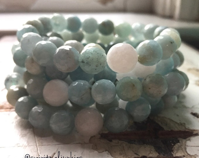 Chunky Aquamarine + Moonstone | 10 mm Beads | Spiritual Junkies | Stackable Mala Bracelet | Yoga + Meditation