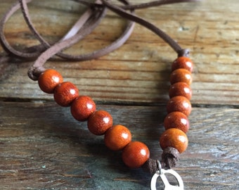 Happy Hippie   Vegan Leather, Redwood + Thai Silver Peace Sign   Adjustable Choker Necklace   Reiki Infused   Spiritual Junkies   Yoga