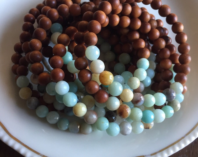 Mini Sandalwood + Amazonite Stacker | 6 mm | Spiritual Junkies | Yoga + Meditation | Single Mala Bracelet