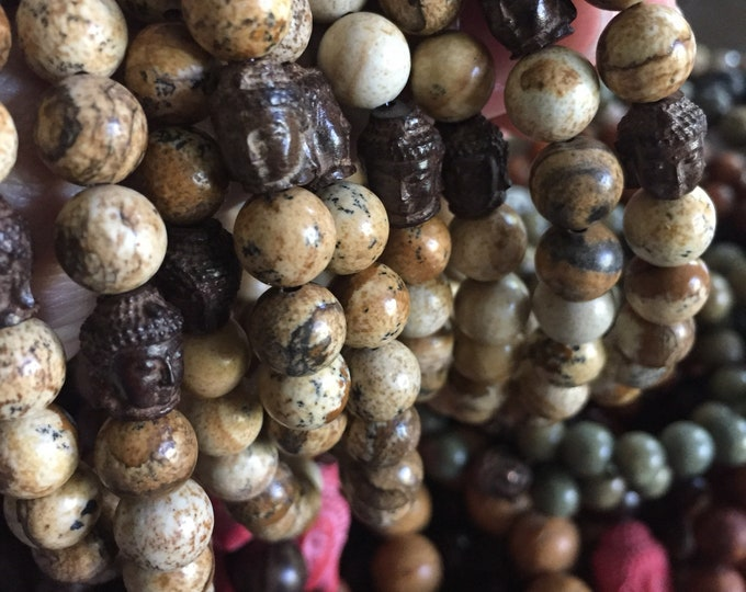Picture Jasper + Wooden Buddha | Spiritual Junkies | Yoga + Meditation | Stackable Mala Bracelet