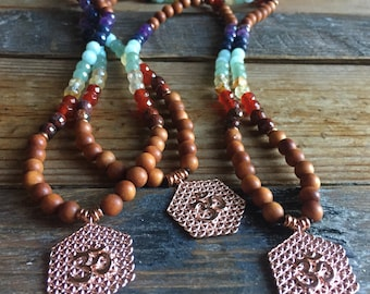 Sandalwood, Chakra Gemstones + Flower of Life Om | 108 Bead Mini Mala 6 mm | Spiritual Junkies | Yoga + Meditation