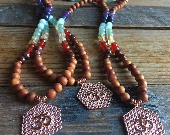 Sandalwood, Chakra Gemstones + Flower of Life Om | 108 Bead Mini Mala 6 mm | Spiritual Junkies | Reiki Infused | Yoga + Meditation