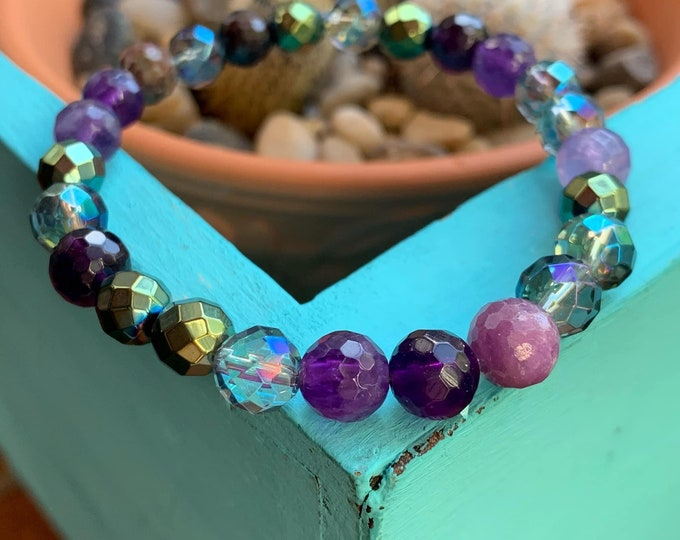 Mermaid Soul Bracelet | Amethyst, African Ruby, Mermaid Hematite, Mermaid Aura Quartz + Twilight Aura Quartz | Spiritual Junkies