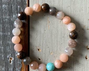 Wild Life Mala Bracelet | Bronzite, Sunstone + Amazonite | Spiritual Junkies | Yoga + Meditation