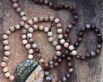 Peace | Pietersite, Peach Moonstone + Ocean Jasper Mini Mala | 108 Bead | 6 mm | Handknotted | Spiritual Junkies | Yoga + Meditation