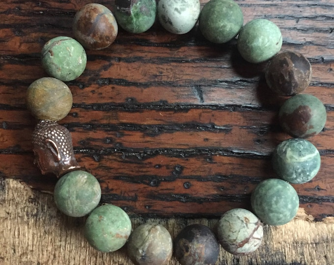 Stackable Funky Chunky 10 mm Matte Peruvian Opal + Copper Buddha Yoga and Meditation Bracelet