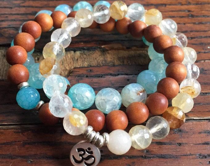 In Joy the Moment | Sandalwood, Citrine, Chunky Agate + Thai Silver Om | Spiritual Junkies | Yoga + Meditation | Stack of 3 Mala Bracelets