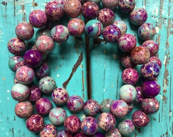 Teal + Purple Jasper   Avg 8 mm   Spiritual Junkies   Yoga + Meditation   Mala Bracelet   Color Enhanced
