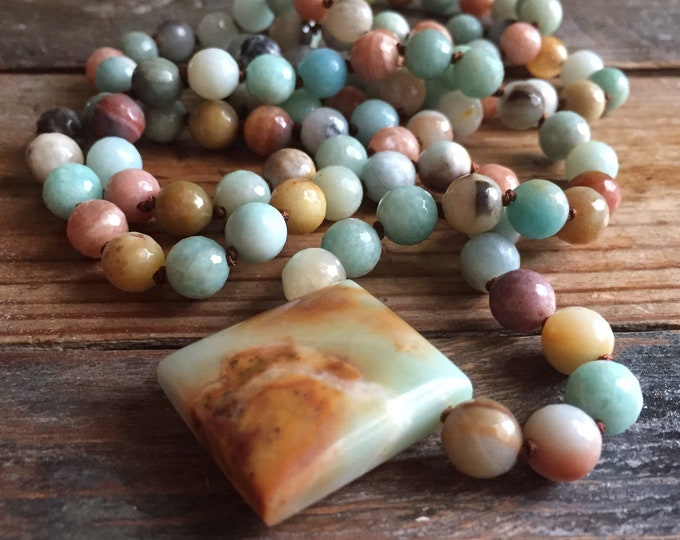 Amazonite, Sunstone + Amazonite Pendant Mala | 108 Bead | 8 mm | Handknotted | Spiritual Junkies | Yoga + Meditation