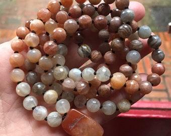 Sunstone, Moonstone + Vintage Carnelian Mala   108 Bead   Handknotted   Spiritual Junkies   Yoga + Meditation