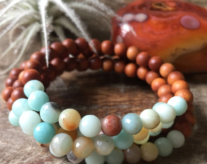 Mini Sandalwood + Amazonite Stacker | 6 mm | Spiritual Junkies | Yoga + Meditation | Single Mala Bracelet