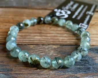 Faceted Prehnite Bracelet | 8 mm | Spiritual Junkies | Yoga Mala Bracelet